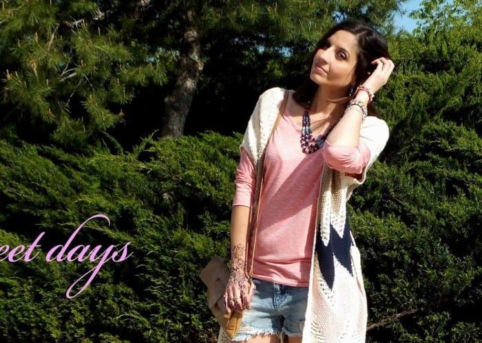 como-llevar-shorts-botines-marrones-jersey-rosa-chaleco-tricot-estilo-azteca-etnico-hippie-chic-blogger-barcelona-12-1