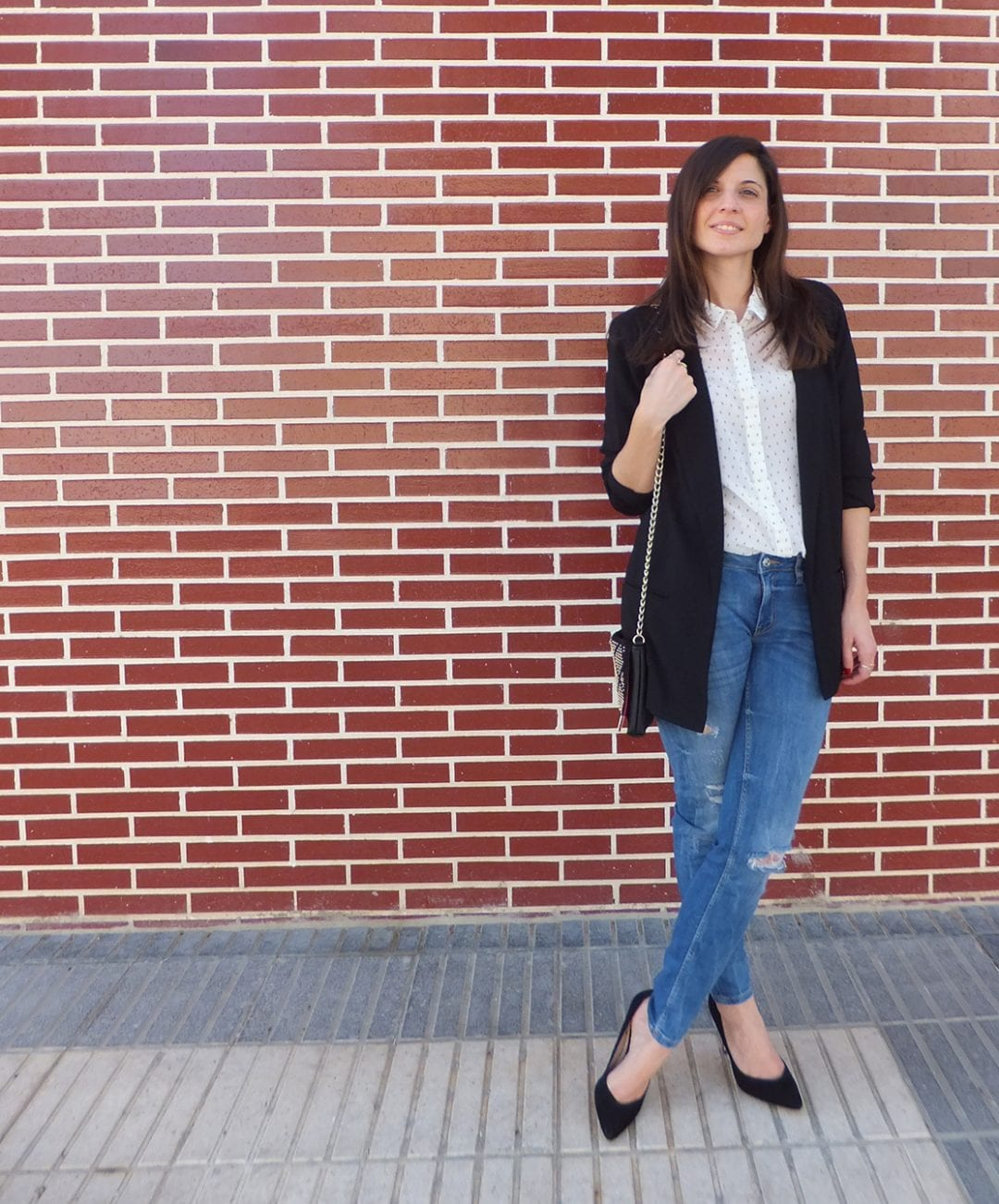 combinar blusa estampada y blazer larga - how to wear long blazer and print blouse - vespa - fashion blogger - bloguera de moda