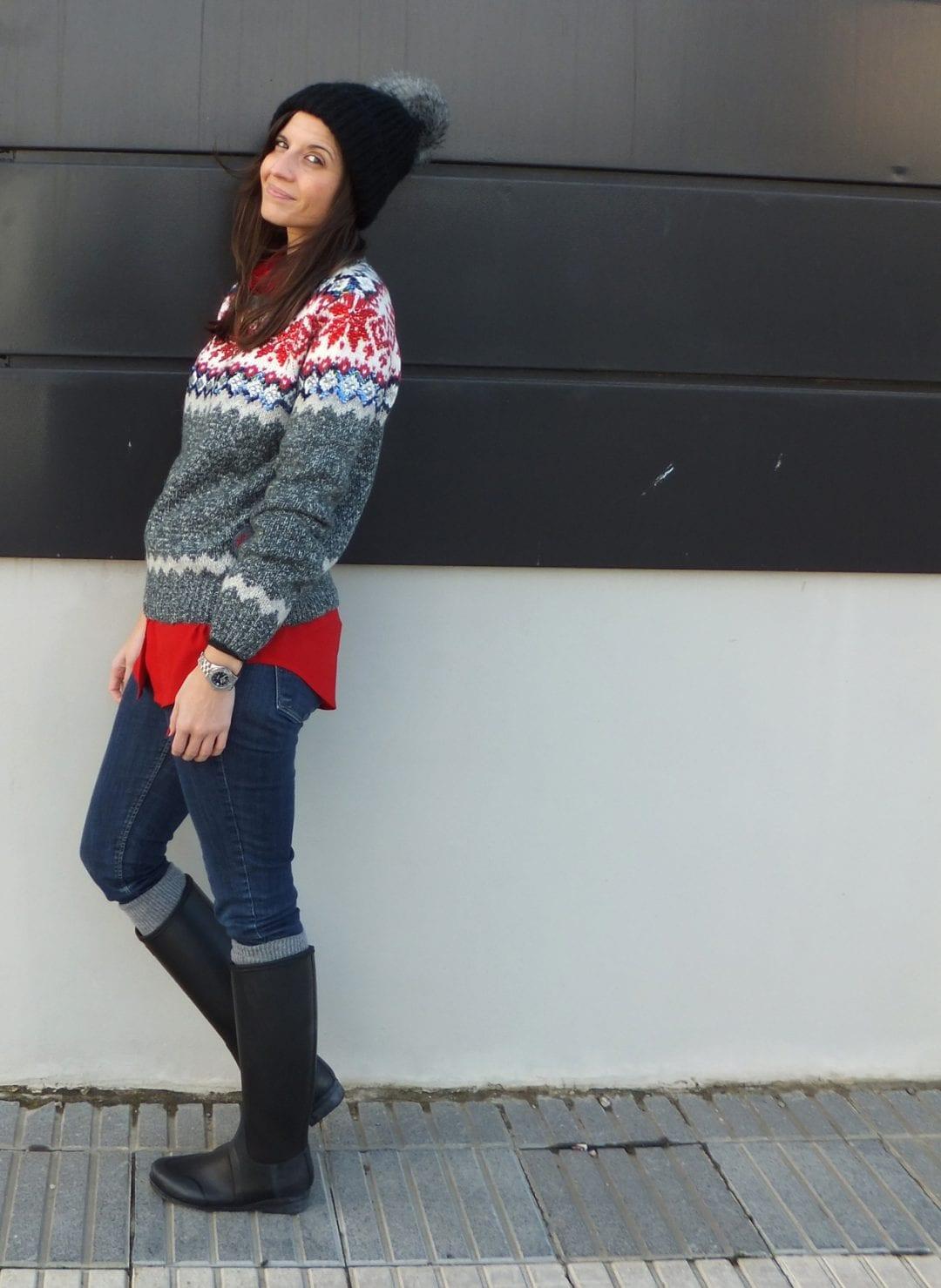 blog sobre moda hunter boots y jersey navideño