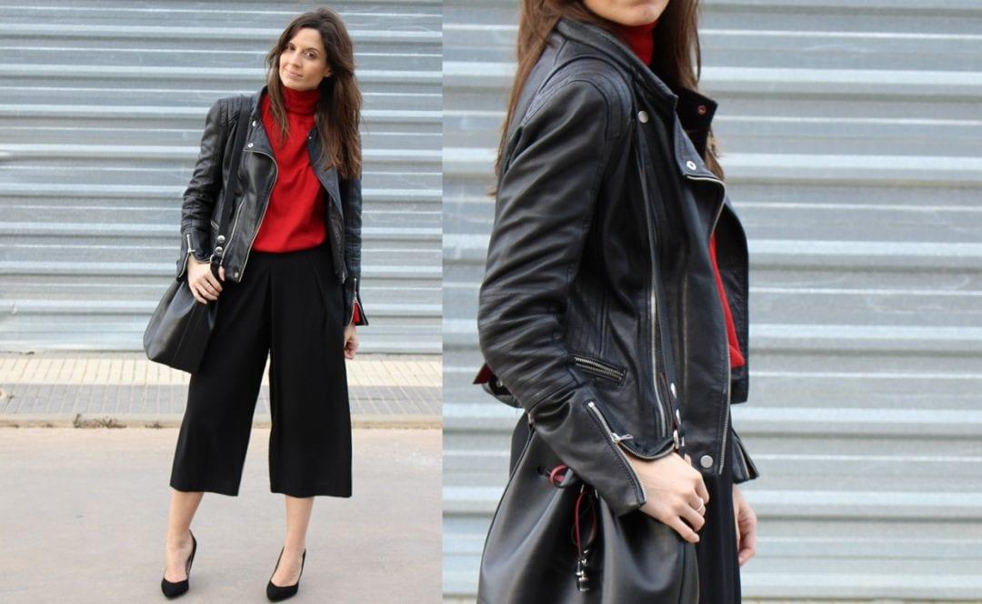 blogger de moda con pantalón culotte negro