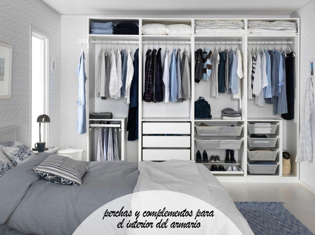 armario de ikea con departamentos perchas y cajones