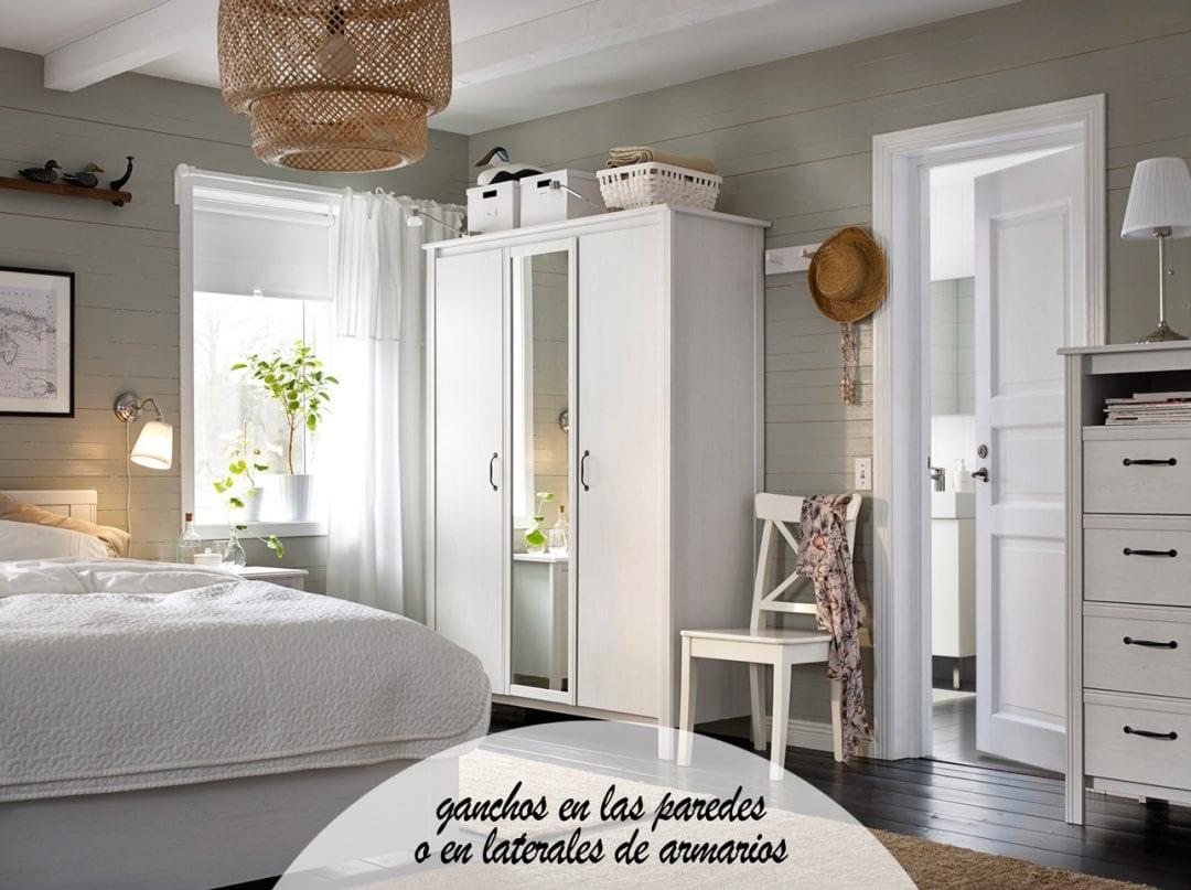 habitación de ikea con armario y cama