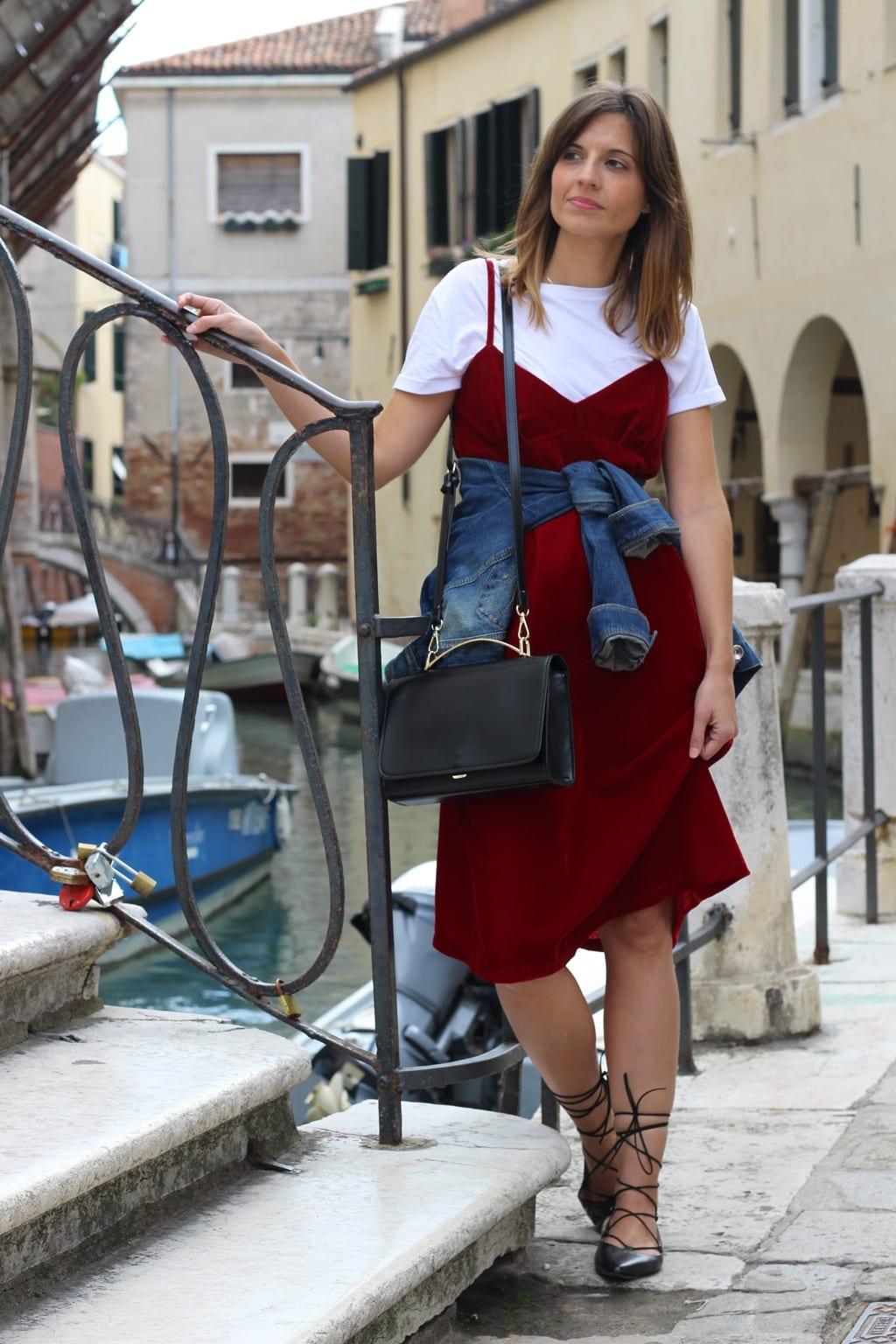 red velvet dress outfit
