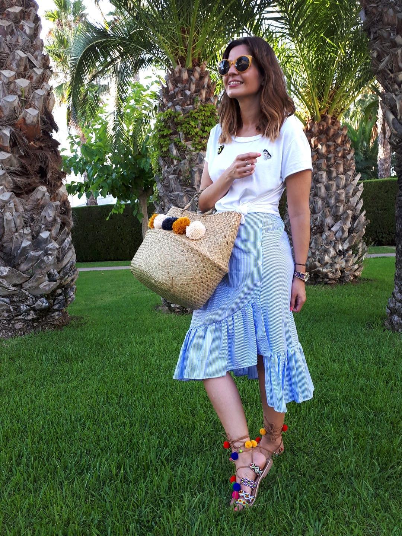 capazo con pompones sandalias gioseppo pompones bloguera de moda