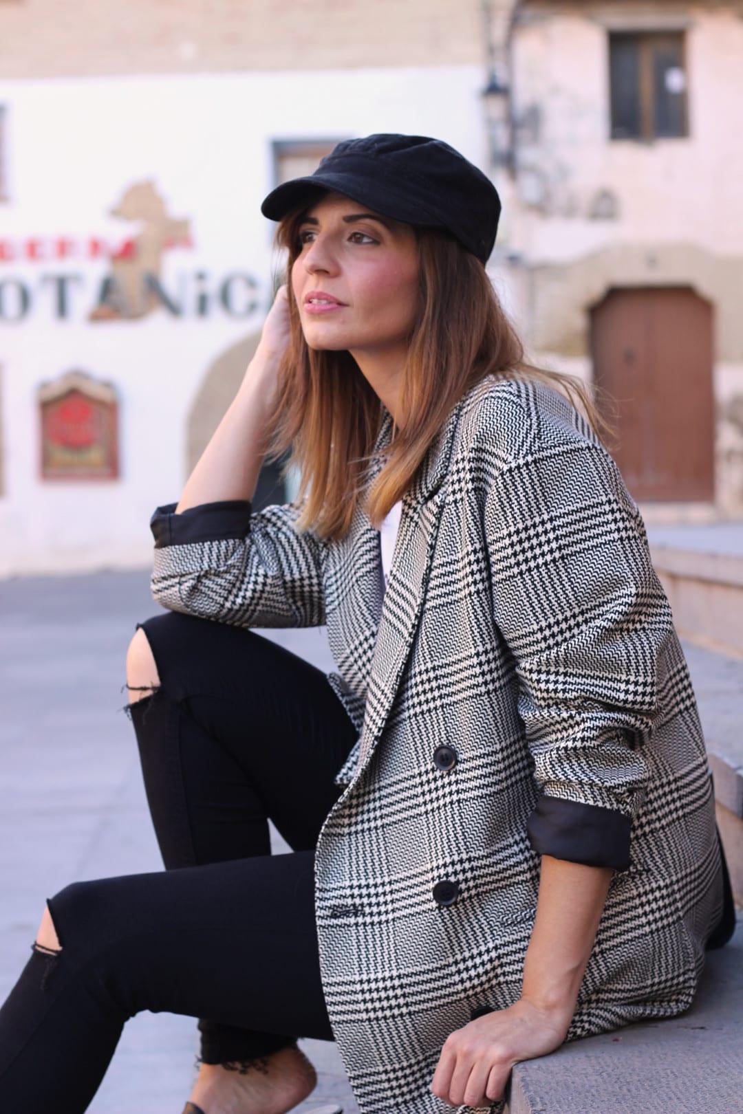 chaqueta de cuadros pata de gallo Zara