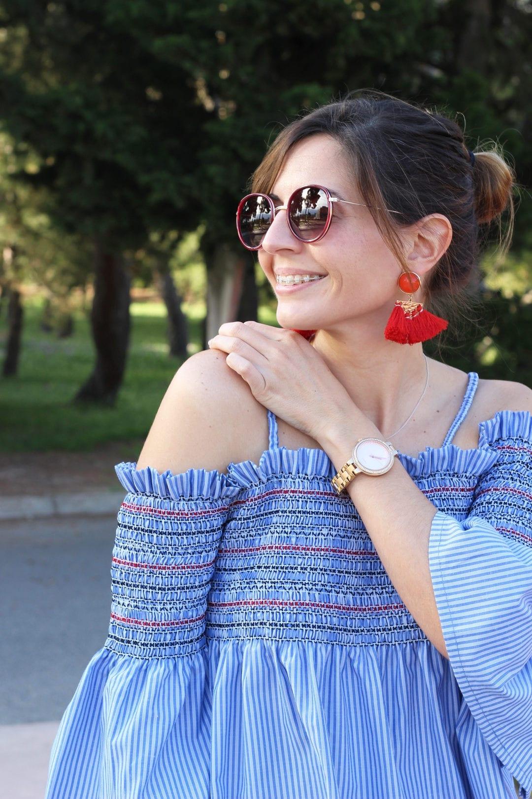 blogger moda sandalias rojas Forever 21 top azul tienda Valvoa Moda Zaragoza