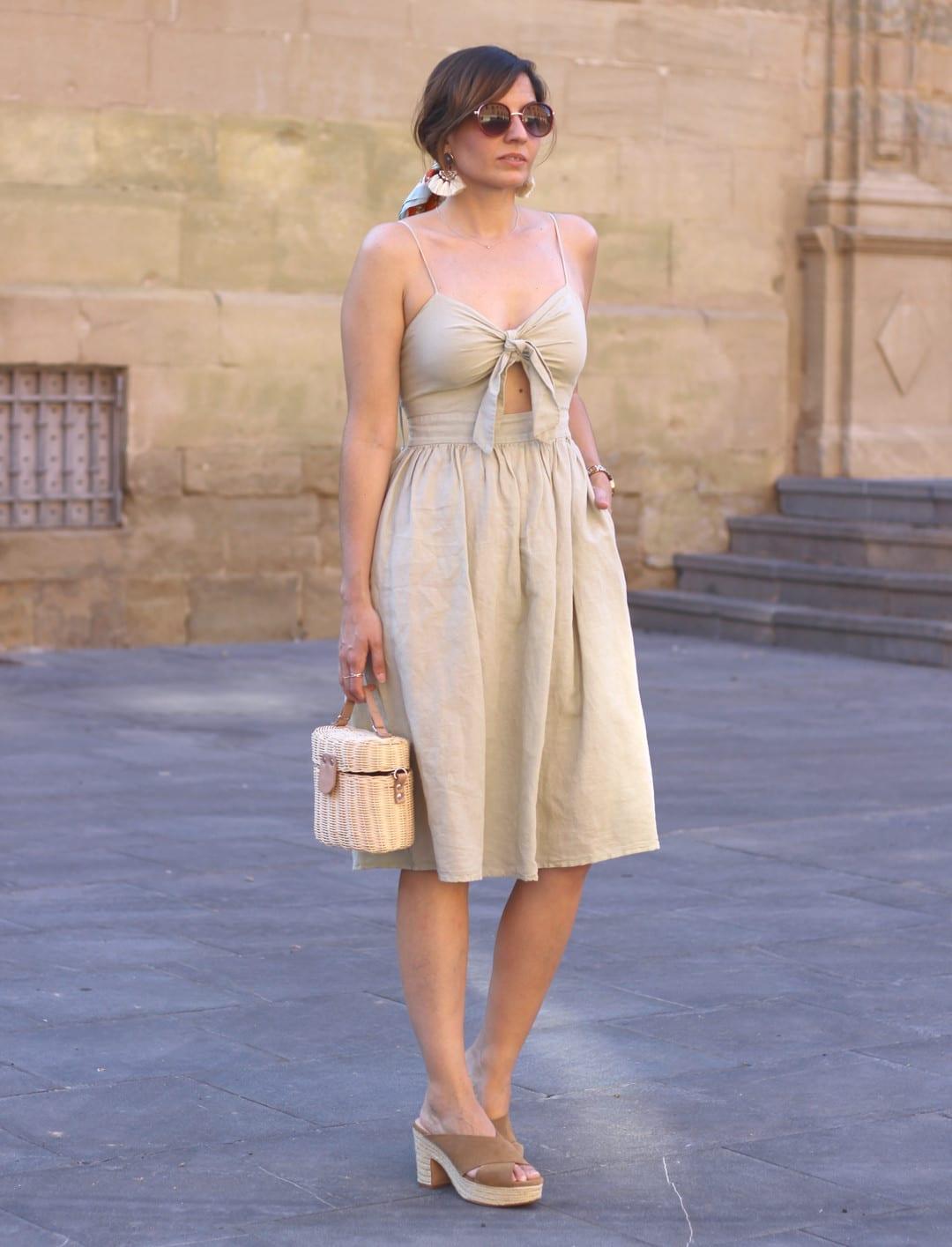 beige midi dress outfit ideas