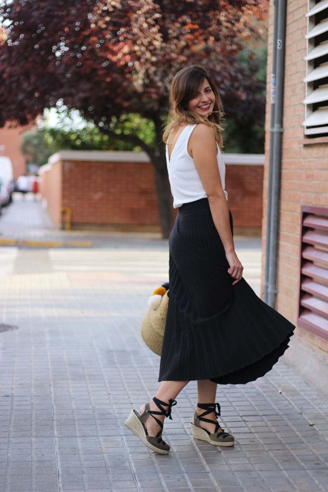 olive green espadrilles and midi skirt outfit