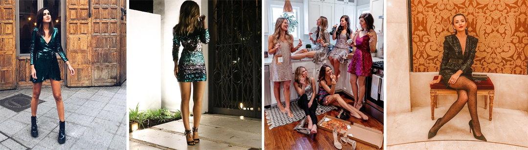 cómo combinar un vestido de lentejuelas en 2018 - 2019