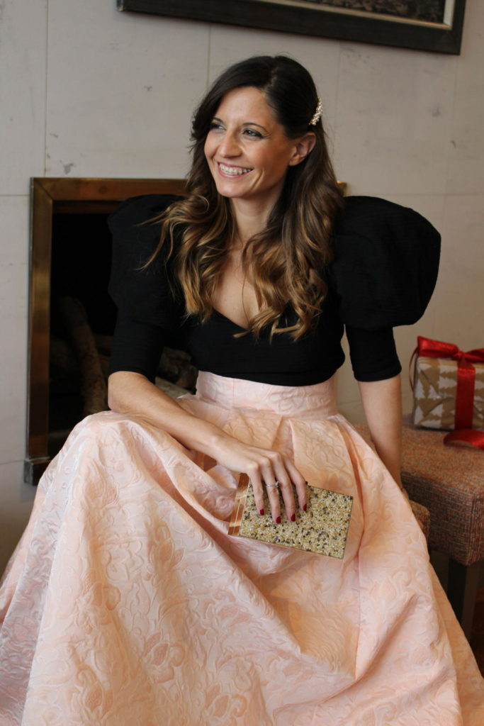 vestidos de fiesta para bodas - look con falda larga rosa Adela Alfaro